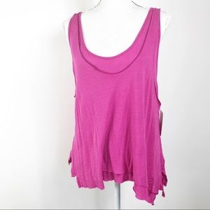 NWT Free People Pink Double Layer lLinen Tank M